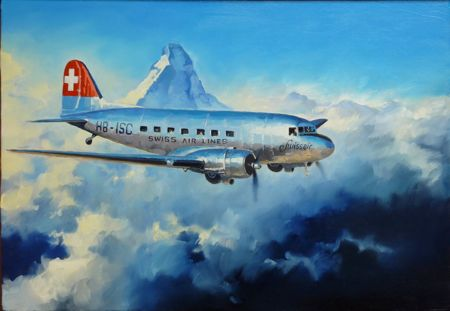 DC3 swissair matterhorn lucio perinotto aviation art