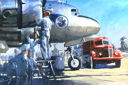DC4 red truck perinotto aviation art