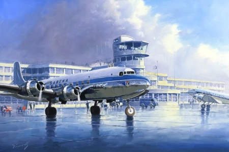 dc-6 sabena perinotto aviation art
