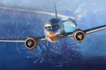 DC3 NEW YORK AMERICAN AIRLINES AVIATION ART PERINOTTO